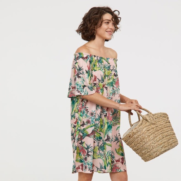 a9533ceca158c H&M Dresses | Hm Floralpink Off The Shoulder Dress | Poshmark